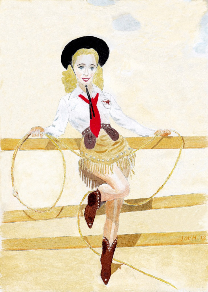 In the 1941 movie Moon Over Miami, Carole Landis appeared in a very cute western outfit along with Betty Grable. I liked it so much that I decided to make a pin-up out of it, borrowing the pose from Elvgren's