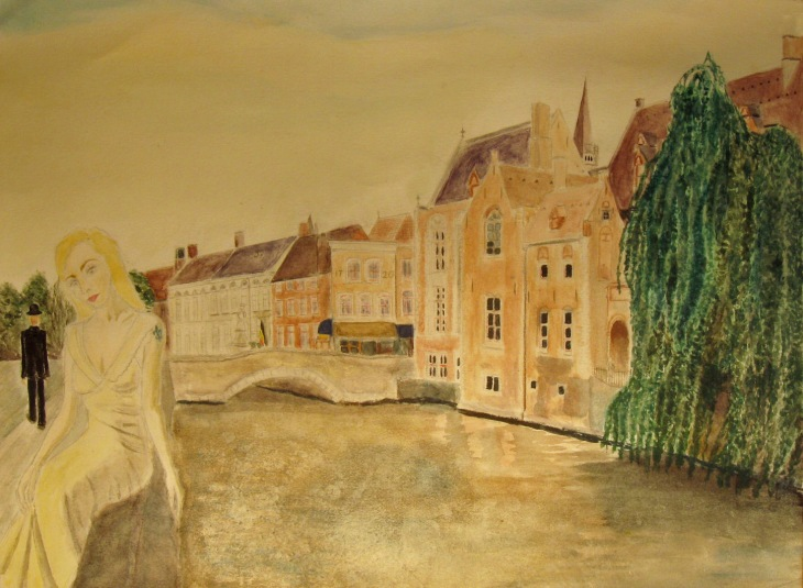 October 2014 - Not exactly pin-up art, but this is where I'm heading - Candy in beautiful Bruges. The little man on the left is an homage to René Magritte.