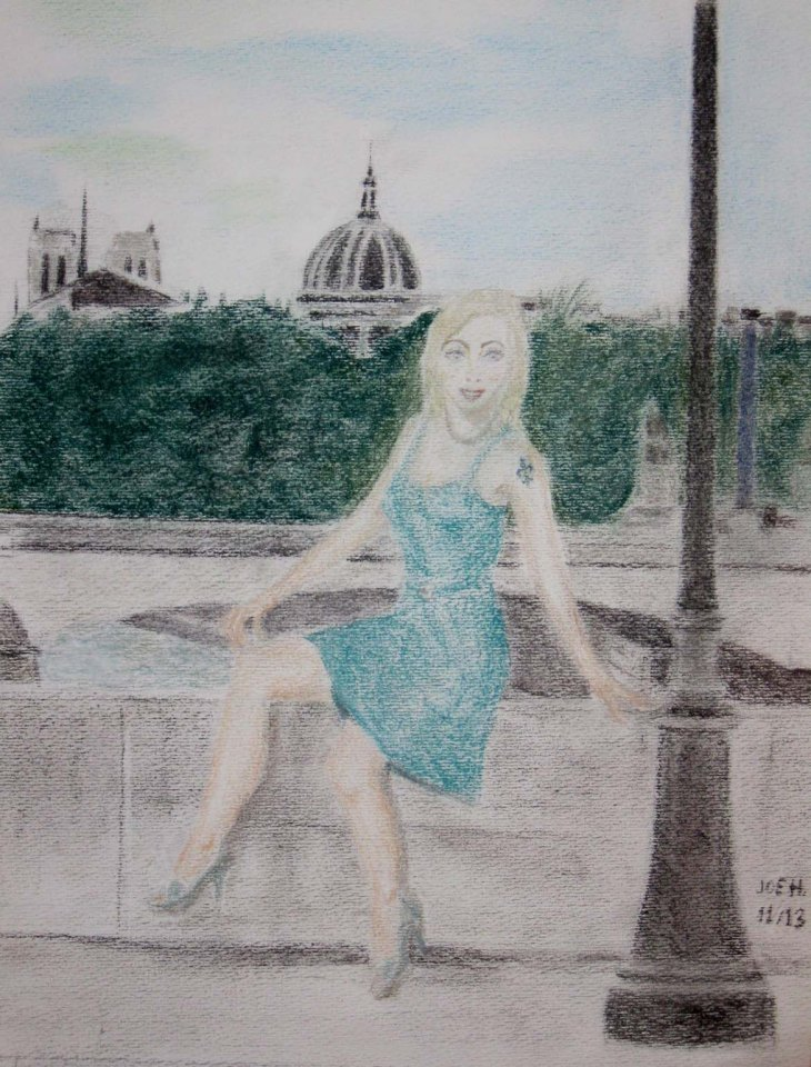 October/November 2013 - Candy in Paris! Seen here on Pont Royal with the Notre Dame towers and the cupola of the Institut de France in the background. While there, Miss Gwilt also decided to try a straight hair-do which suggests more lightness. I used Derwent pastel pencils and also a bit of Drawing on pastel paper.