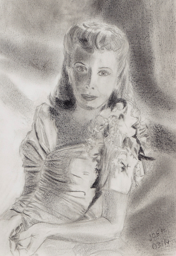 March 2014 - Dinah Shore was a popular singer in the 1940s. This picture was done with various graphite media.
